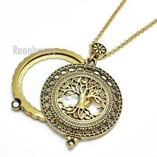 "New Gold 5X Magnifying Glass Tree of Life Pendant 31"" Chain Necklace SJ045G"