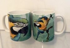 BLUE & GOLD MACAW PARROT CERAMIC COFFEE MUG 11oz. Wrap-around Images! SET of 2