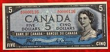1954 Canada Paper Money $5 P-68 Devil's face Hairdo Uncirculated