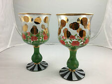 Pair of MacKenzie Childs Water/Wine Goblets, Hand Painted in Heirloom Circus