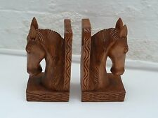 Pair of Wooden Bookends in the Shape of Horses Heads