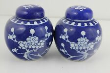 Antique Chinese Porcelain Hand Painted Pair  Vases & Lids