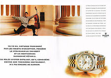 PUBLICITE  ADVERTISING 1998   ROLEX  montre OYSTER DATEJUST  YO-YO MA ( 2 pages)