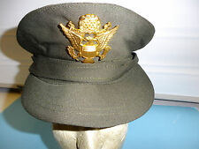b3554-7 WW 2 US Army  ANC OD Chocolate Visor Hat Women Nurse Corps w/badge