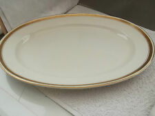 LARGE OVAL MINTON PLATTER WITH GOLD COLOURED TRIM & BLACK  GREEK KEY OVERLAID