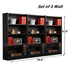 Set of 3 Pcs Wall Bookcase Bookshelf 4 Shelf Black Wood Adjustable Shelves