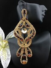 Large Pageant Queen Brown/Topaz Crystal Chandelier Pierced Earrings Gold Tone