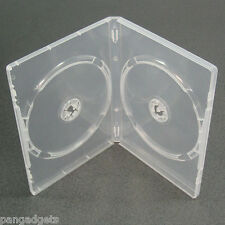 10 CLEAR  DOUBLE 7mm SLIMLINE DVD/CD CASES WITH SLEEVE- Side by Side