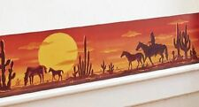 Sunset Desert Scene Western Horse Cowboy Cactus Wall Removable Decal Border 14""
