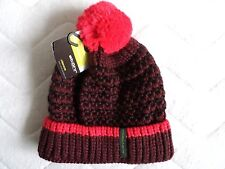 STÖHR Germany CHUNKY Virgin Wool Bordeaux Knit Bobble Beanie HAT Toque UNISEX
