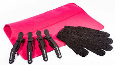 Heat Protection Hair Glove, Pink Heat proof Travel Mat  & 4 x Cloud 9 Clips