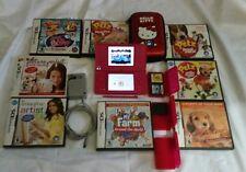 Nintendo DSi Bundle Dark Pink Handheld Console System 11 games Hello Kitty Case