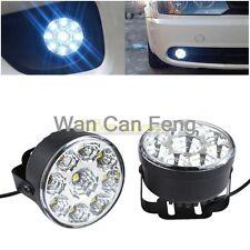 2X 9-LED DRL Car Fog Lamp Round Driving Running Daytime Light Head Light White