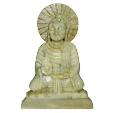 Buddha meditierend Speckstein 11x8cm Steinfigur Buddhismus Skulptur Statue