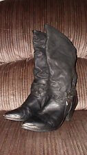 VTG Zodiac Distressed Western Cowboy Leather MidCalf Womens Slouchy Boots Sz 8.5