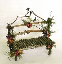 Fairy House Miniature Doll TWIG & Roses Furniture GARDEN BENCH  Artisan Crafted
