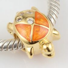 18K GOLD OVER 925 STERLING SILVER TURTLE CHARM BEAD CZ EUROPEAN BRACELET S0764
