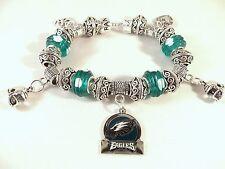 CHIC GLASS BEADS PHILADELPHIA EAGLES NFL Charm Bracelet Silver European