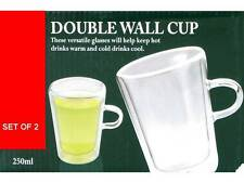 2 x DOUBLE WALL THERMO GLASS LATTE TEA COFFEE CAPPUCCINO CUPS MUGS 250ML NEW