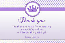 30 Princess Thank You Card Notes Purple Birthday Baby Girl Shower
