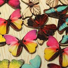 50 mixte bois boutons coloré papillon couture tricot scrapbooking 2 trou 28X21mm