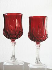 Cris D'Arques Durand LONGCHAMP Water Goblets w/ Clear Stems - Set of 2 - RED!