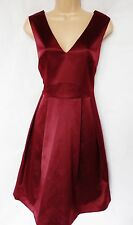 BNWT NEXT Ladies berry burgundy satin skater dress wedding formal ocassion 12