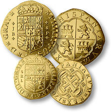(5) Five MerlinGold Replica Pirate Doubloons