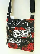 Black girls Skulls roses gothic PASSPORT TRAVEL SHOULDER crossbody BAG canvas