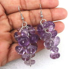 PURPLE NATURAL EXCLUSIVE AMETHYST ROUND CAB BEADED STERLING SILVER EAR-RING~~
