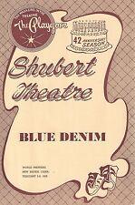 "Chester Morris ""BLUE DENIM"" June Walker / Pat Stanley 1958 Tryout Playbill"