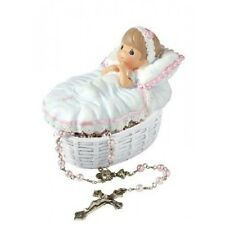 $ PRECIOUS MOMENTS Figurine BAPTIZED IN HIS NAME ROSARY BOX Baby Girl Pearl Bead