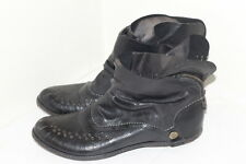 Area Forte Black Flat Ankle Boots Leather Shoes Women's Sz 9-9.5