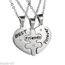 "1Set Bd Rhinestone Lettered ""Best Friends Forever"" Puzzle Heart Pendant Necklace"