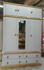 HANDMADE AYLESBURY COUNTRY TRIPLE WARDROBE (WHITE+PINE) WITH TOP BOX (ASSEMBLED