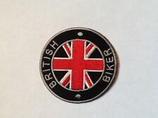 Iron On/ Sew On Embroidered Patch Badge British Biker Circle Union Jack Roundal