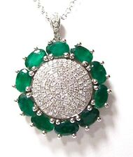2.79 TCW Natural Oval Green Columbian Emerald & Diamond Pendant Necklace 14k WG
