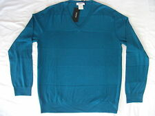 Rykiel Homme V-Neck Petrole Teal Blue / Green Jumper 100% Wool Large New NWT