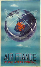 ORIGINAL Vintage Airlines Travel Poster AIR FRANCE Logo GLOBAL NETWORK Plaquet