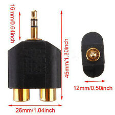 1pc Gold Plated stereo Audio male Plug to 2 RCA female jack Y 3.5mm Adapter Mini