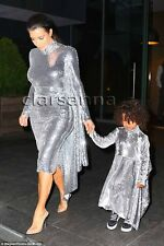$12950.00 Vetements Open Back Silver Sequined Draped Tulle Long Sleeves Dress S