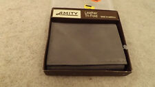 Vtg Amity Leather Bi-Fold Wallet Billfold ~~Gray~~ USA Made