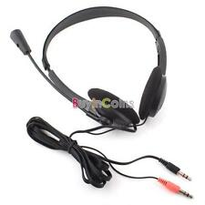 Black Stereo Headset Headphones With Microphone for VoIP Skype MSN Yahoo BA