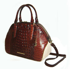 Brahmin Hudson Pecan Croc Embossed Melbourne Leather Satchel NWT $375