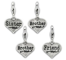 4x Tibetan Silver Family Theme Clip Heart Charms Brother Mother Friend Sister S6