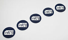 5 Blu PVC NFC TAG ADESIVO ntag213 30mm SAMSUNG NOKIA SONY LG HTC ANDROID WINDOW