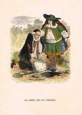 "Grandville Fable - ""THE MISER & HIS TREASURE"" - Colored Lithogrpah - 1842"