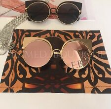 LUXE ROSE GOLD Pink MIRRORED CATEYE SUNGLASSES Celebrity MARBS .21