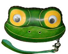 Leather Change Purse,Jewelry Holder.Delicate & Pretty Frog Face Pattern, Zipper