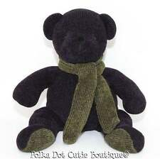 "Pottery Barn Plum Purple Green Scarf Teddy Bear Plush Toy Stuffed Animal 14"" EUC"